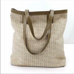 AUTHENTIC CELINE CANVAS LEATHER GREEN TOTE